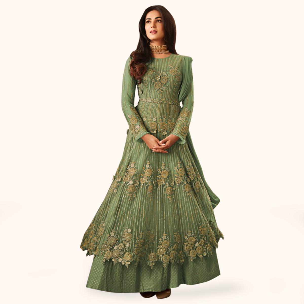 Ideal Green Colored Partywear Embroidered Netted Anarkali Suit