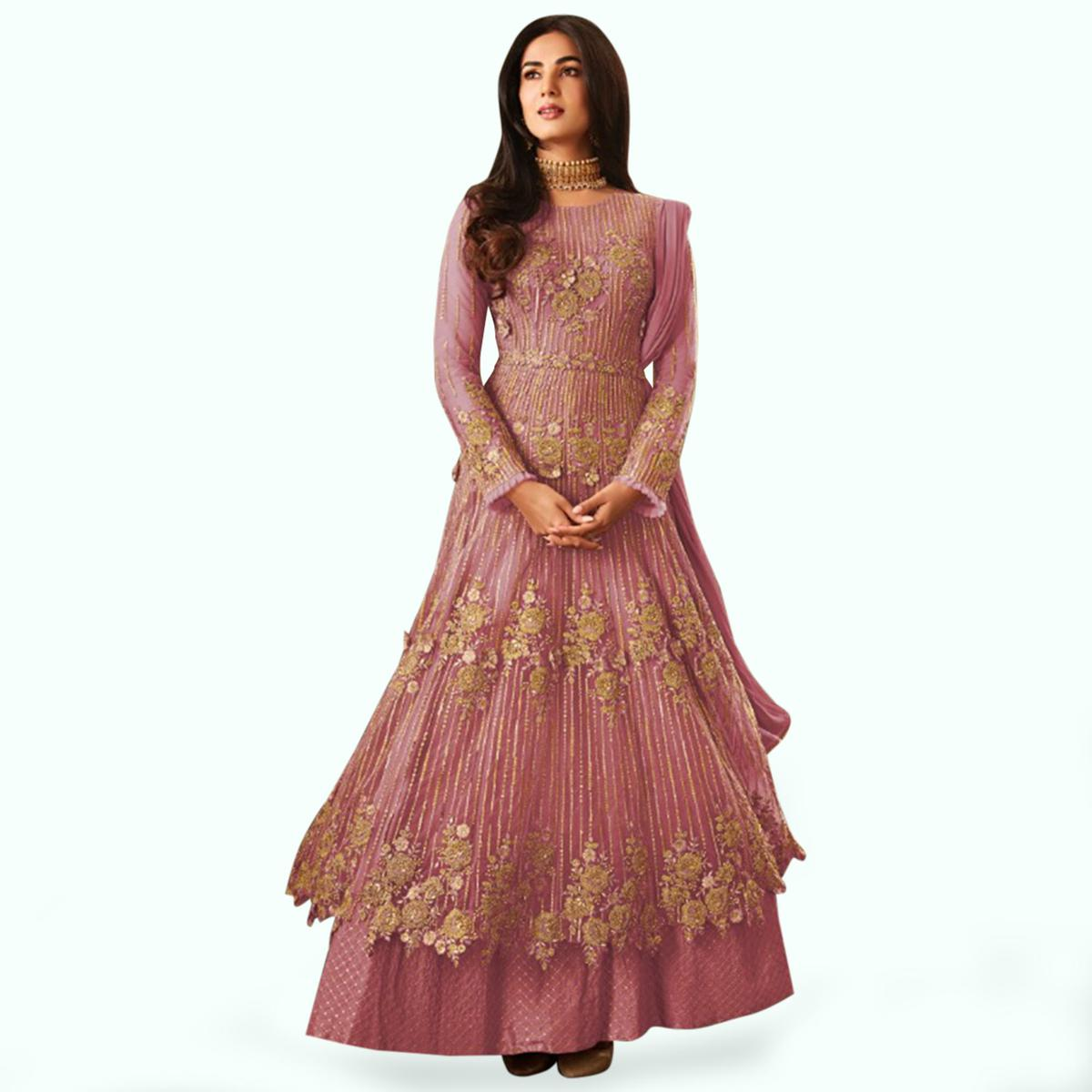 Intricate Pink Colored Partywear Embroidered Netted Anarkali Suit