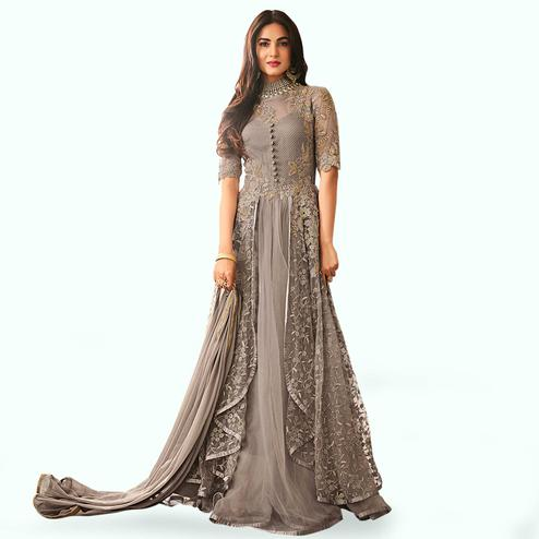Appealing Gray Colored Partywear Embroidered Net Anarkali Suit
