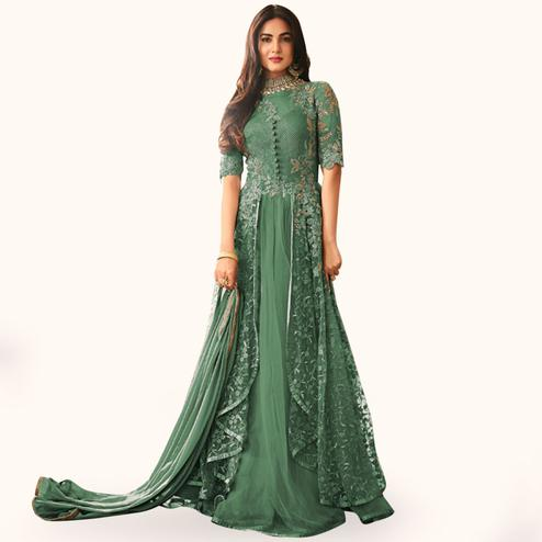 Capricious Green Colored Partywear Embroidered Net Anarkali Suit