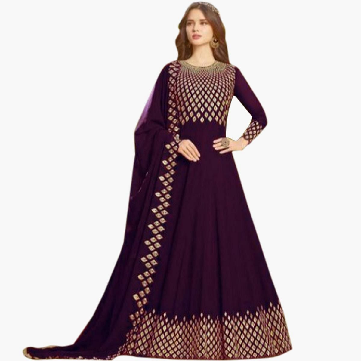 Impressive Purple Colored Partywear Embroidered Georgette Anarkali Suit