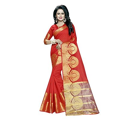 Ravishing Red Poly cotton Traditional Saree