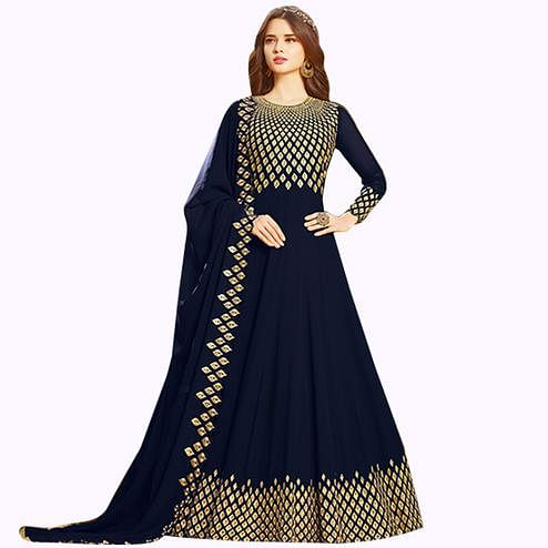 Mesmerising Navy Blue Colored Partywear Embroidered Georgette Anarkali Suit