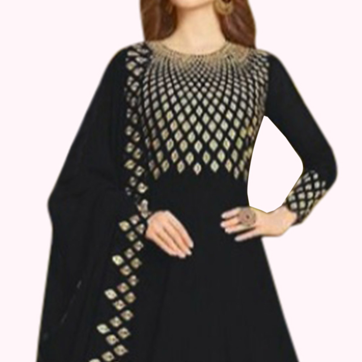 Pleasance Black Colored Partywear Embroidered Georgette Anarkali Suit