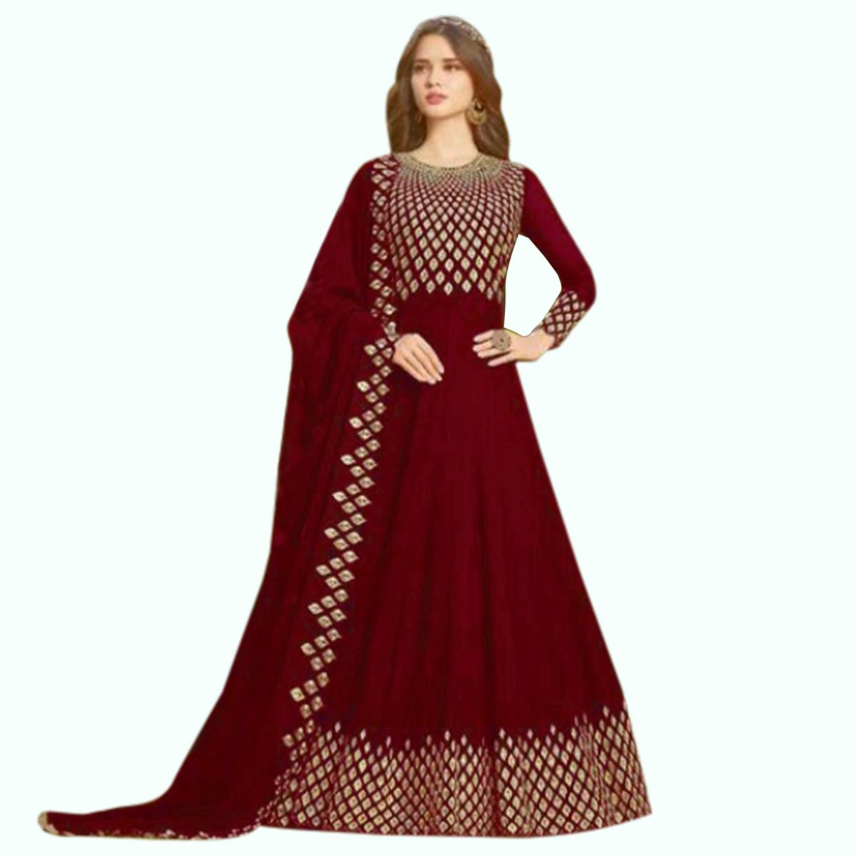 Ethnic Maroon Colored Partywear Embroidered Georgette Anarkali Suit