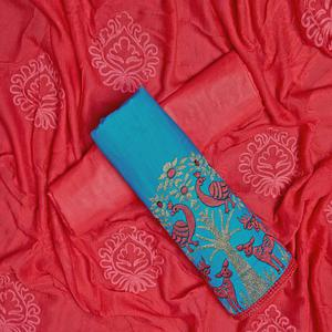 Beautiful Sky Blue Colored Partywear Embroidered Cotton Dress Material