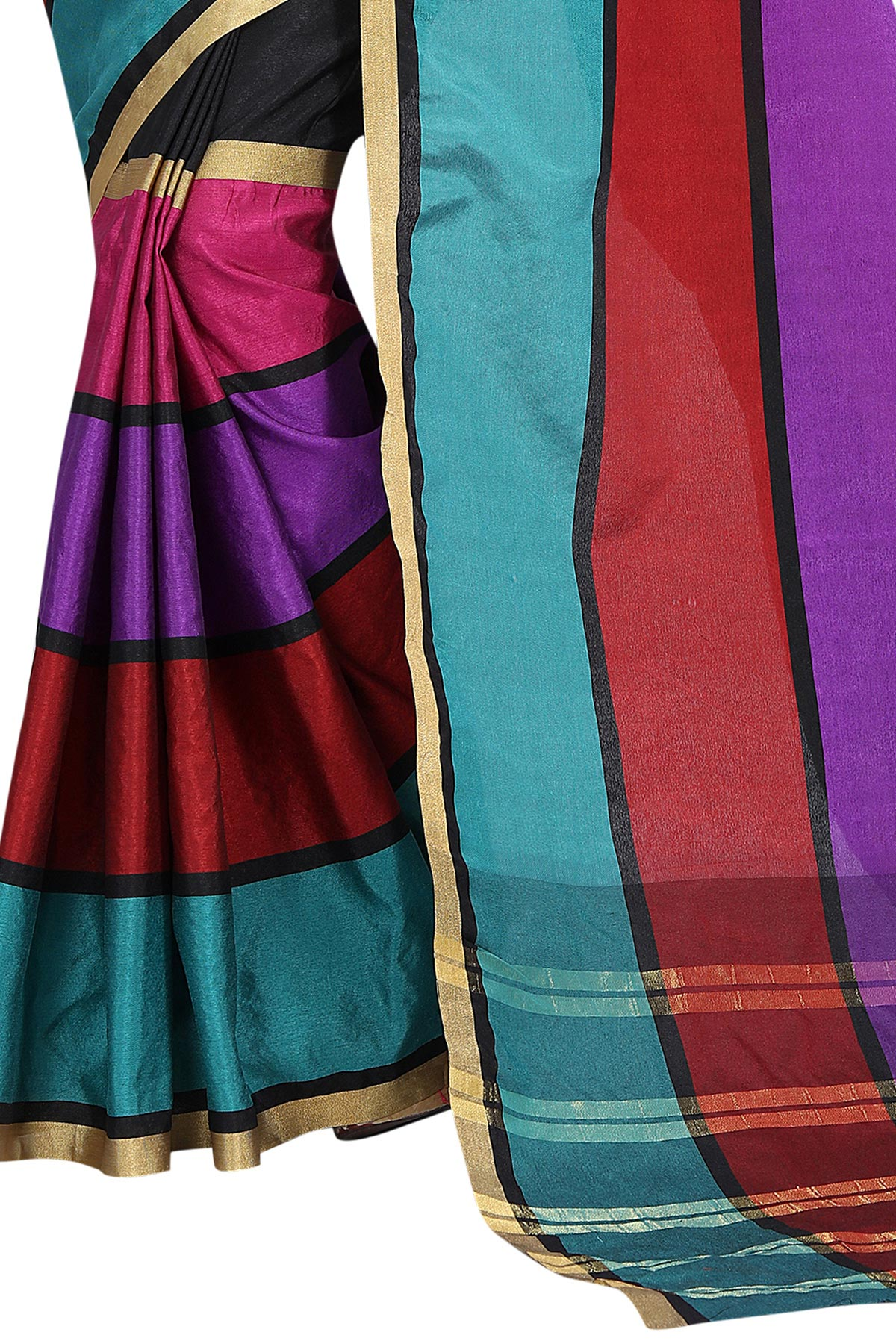 Trendy Multi color Poly Cotton Casual Saree