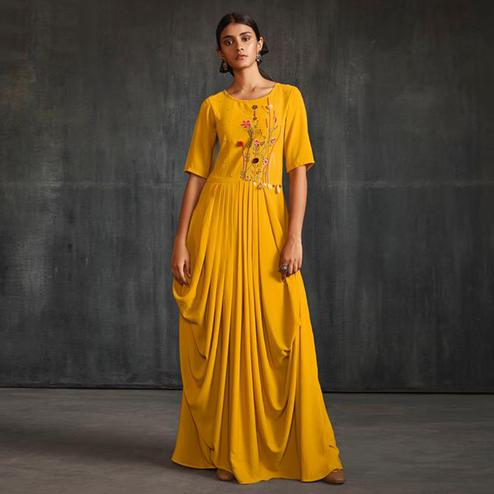 Imposing Mustard Yellow Colored Partywear Embroidered Silk Long Kurti
