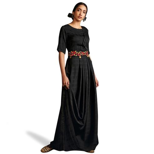 Hypnotic Black Colored Partywear Embroidered Silk-Satin Long Kurti