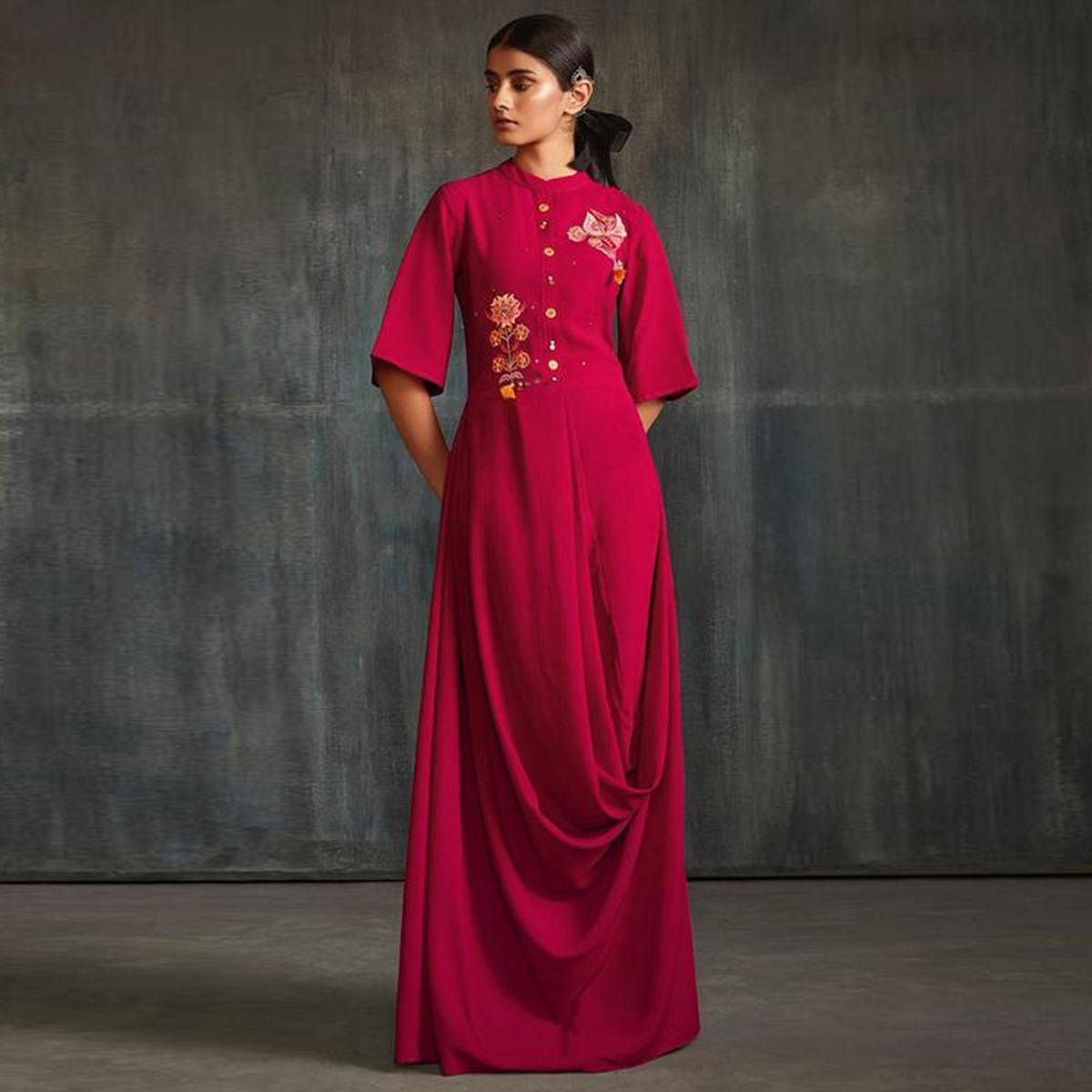 Impressive Pink Colored Partywear Embroidered Silk Long Kurti