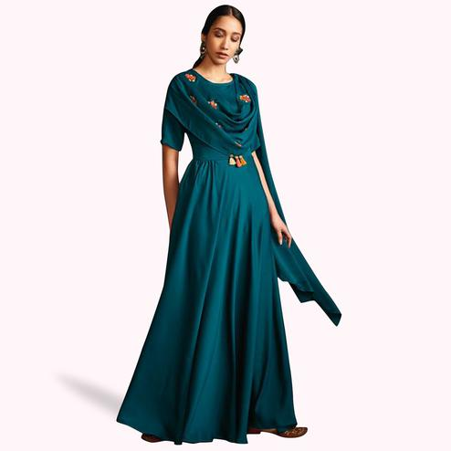 Marvellous Blue Colored Partywear Embroidered Satin-Silk Long Kurti