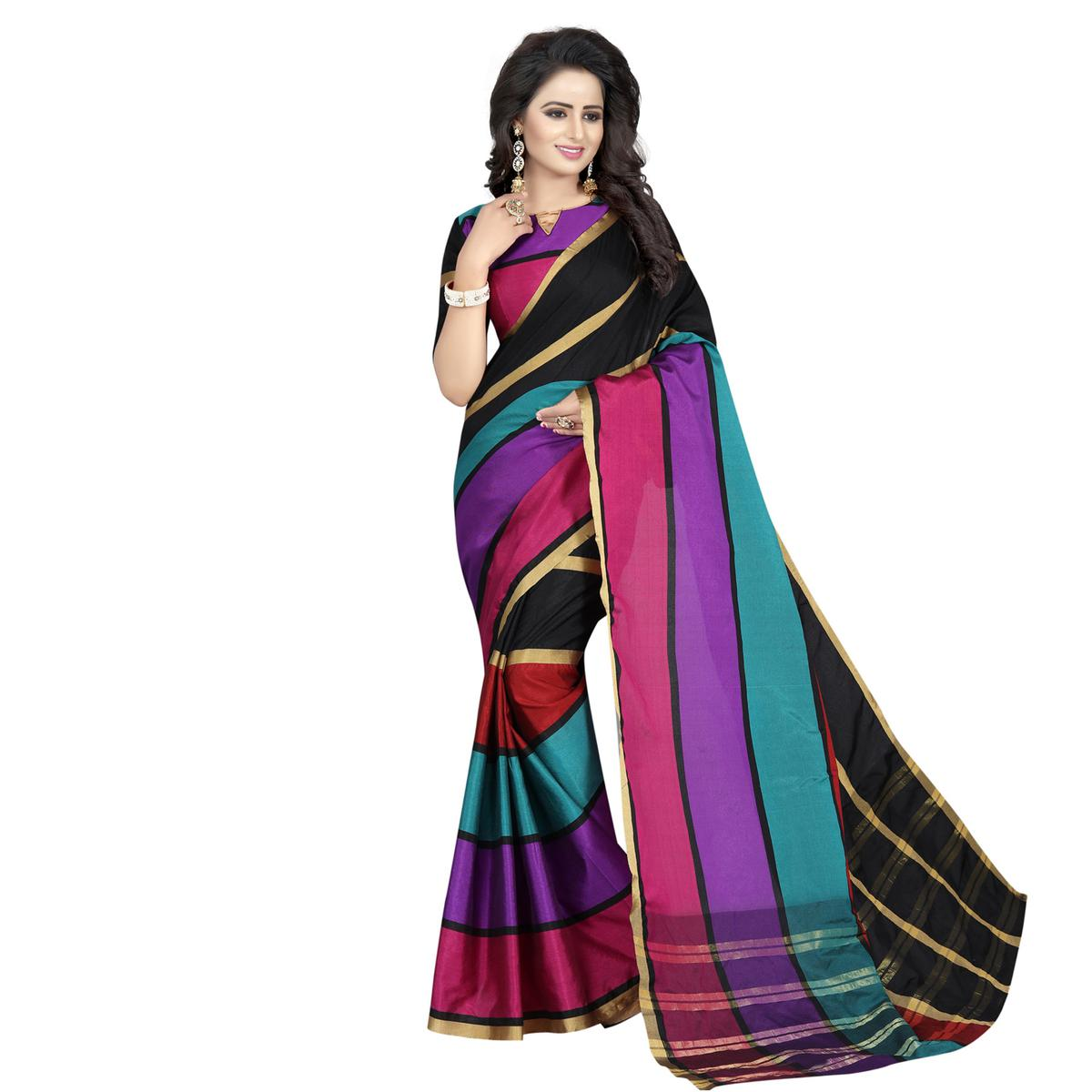 Lovely Multi color Poly Cotton Casual Saree