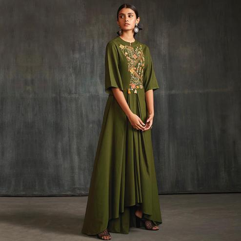Staring Mehendi Green Colored Partywear Embroidered Silk Long Kurti