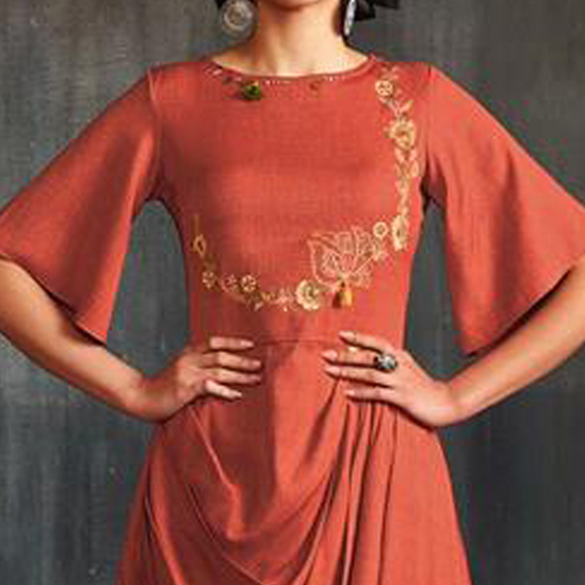 Alluring Orange Colored Partywear Embroidered Viscose-Silk Long Kurti