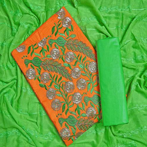 Jazzy Orange Colored Partywear Embroidered Cotton Dress Material