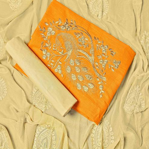 Innovative Yellow Colored Partywear Embroidered Cotton Dress Material