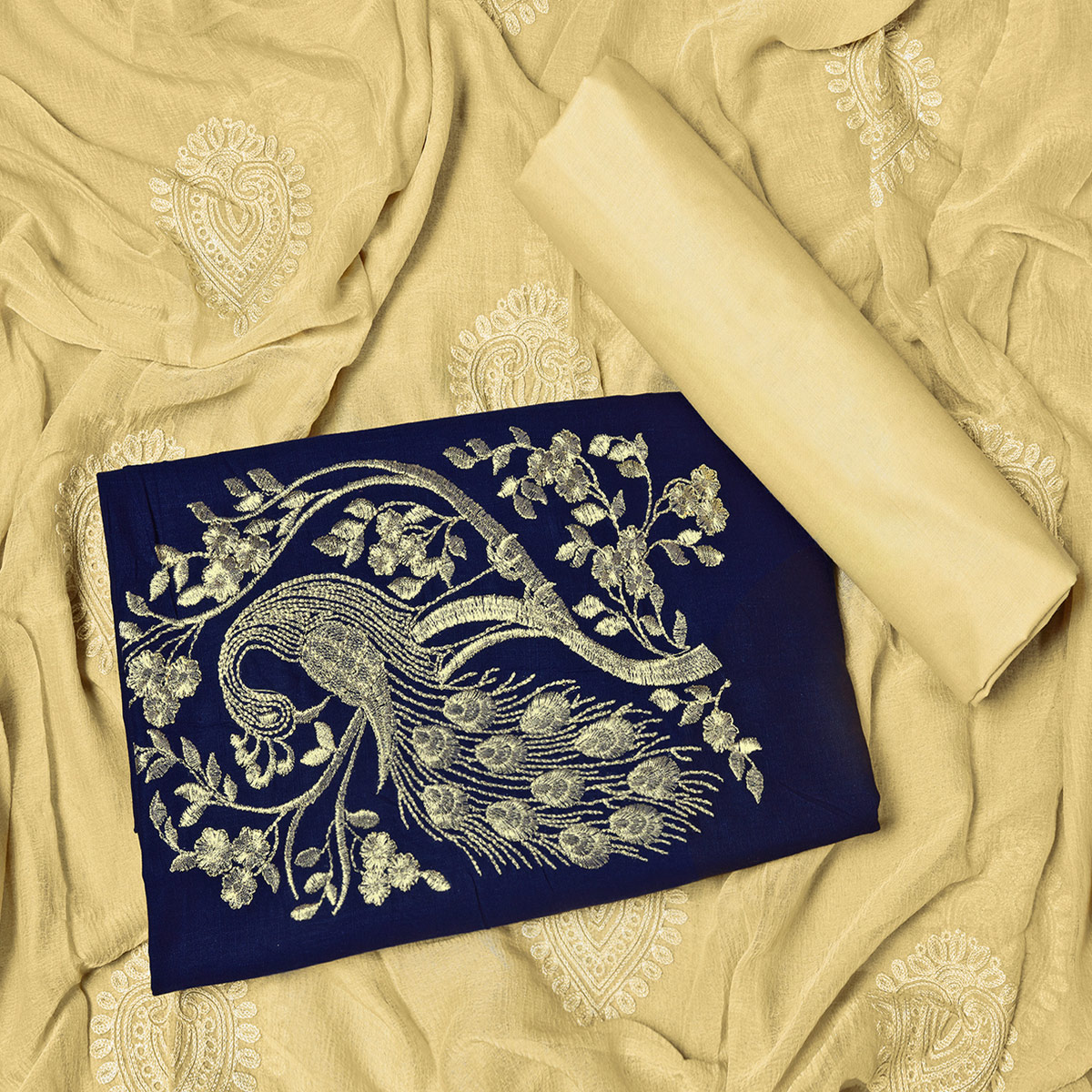 Amazing Navy Blue Colored Partywear Embroidered Cotton Dress Material