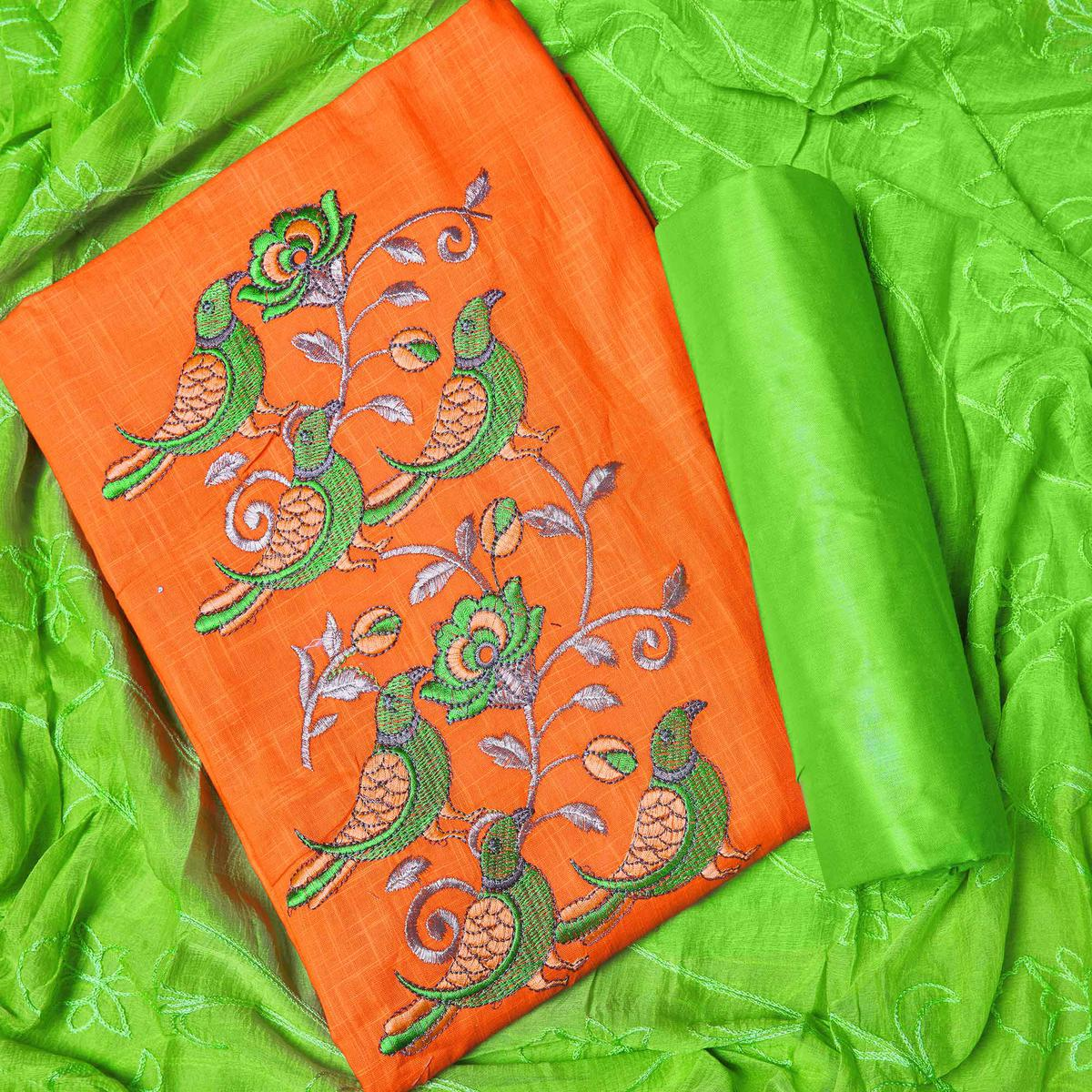 Blooming Orange Colored Partywear Embroidered Cotton Dress Material