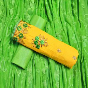 Ethnic Yellow Colored Partywear Embroidered Cotton Dress Material