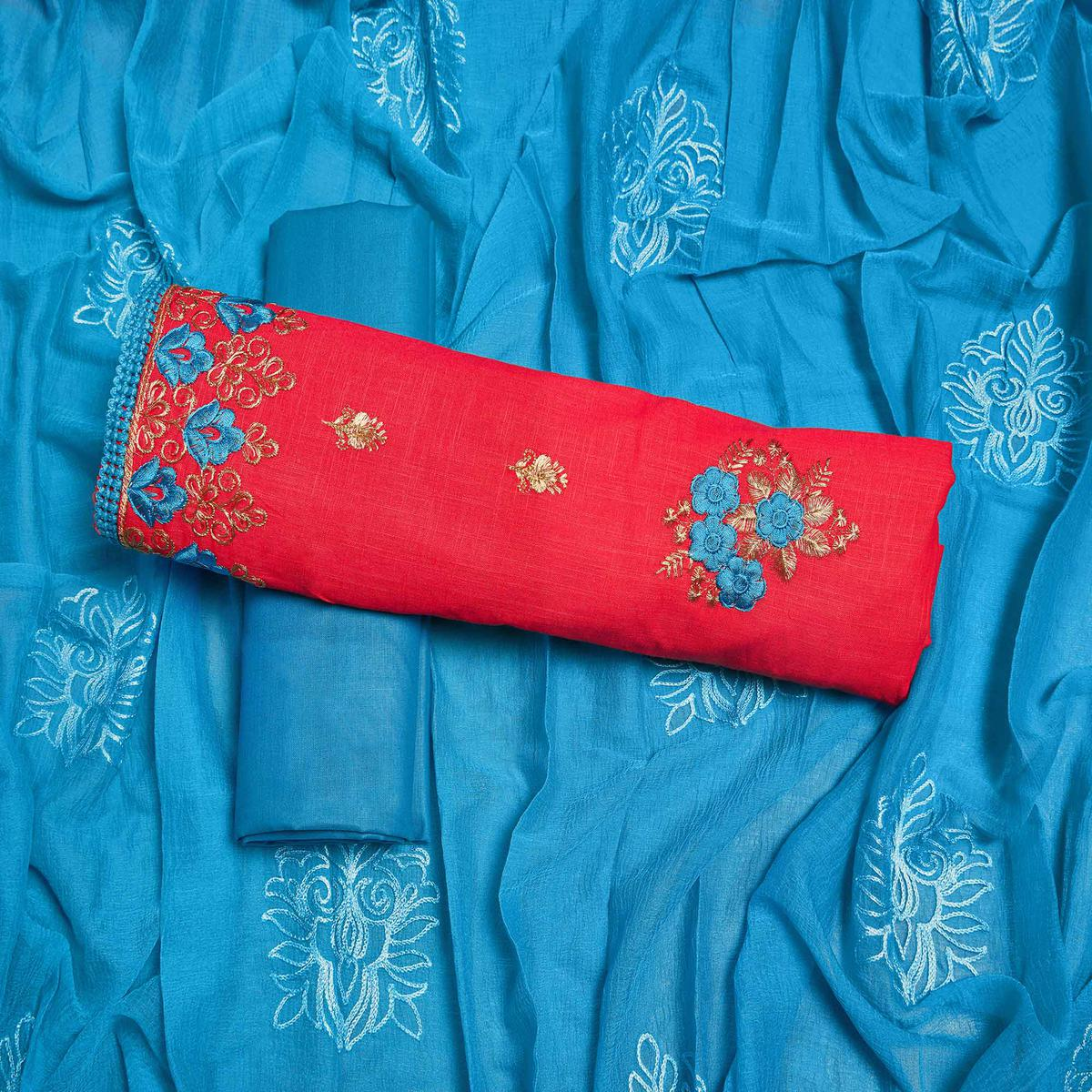 Adorable Red Colored Partywear Embroidered Cotton Dress Material