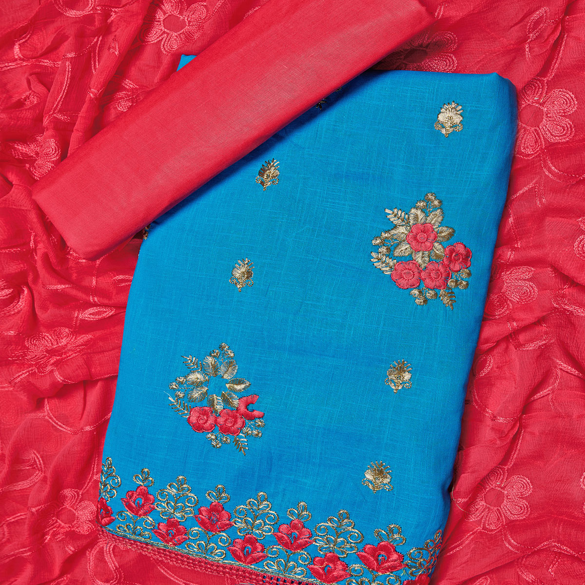 Arresting Sky Blue Colored Partywear Embroidered Cotton Dress Material