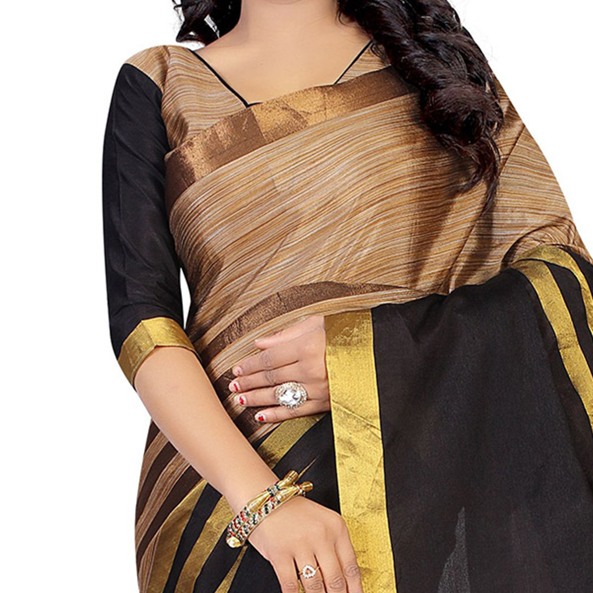 Beige - Black Casual Wear Cotton Saree