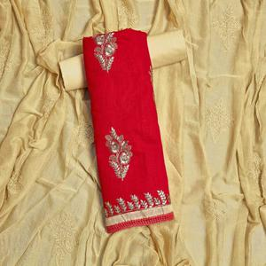 Exotic Red Colored Partywear Embroidered Cotton Dress Material