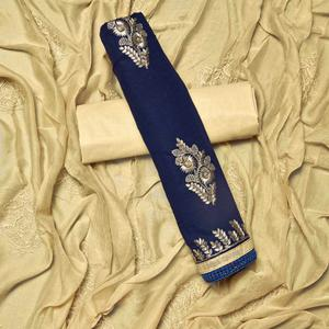 Sophisticated Navy Blue Colored Partywear Embroidered Cotton Dress Material