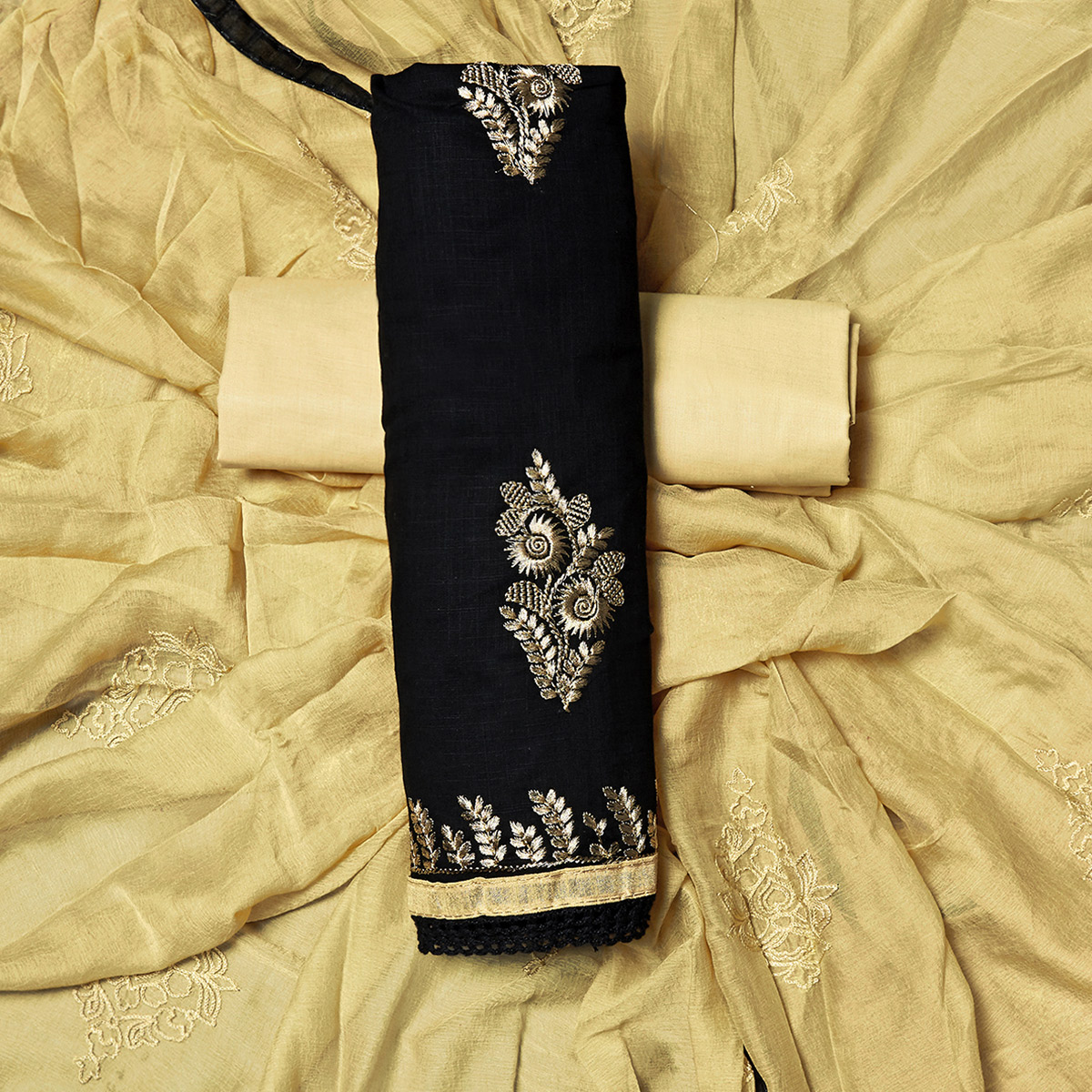 Elegant Black Colored Partywear Embroidered Cotton Dress Material