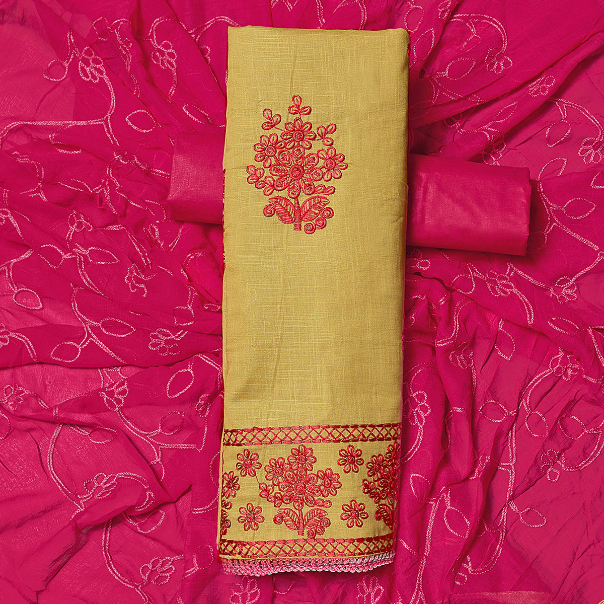 Pleasant Beige-Pink Colored Partywear Embroidered Cotton Dress Material