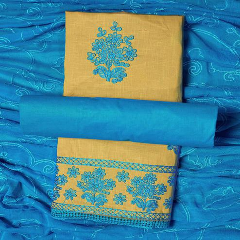 Opulent Beige-Sky Blue Colored Partywear Embroidered Cotton Dress Material
