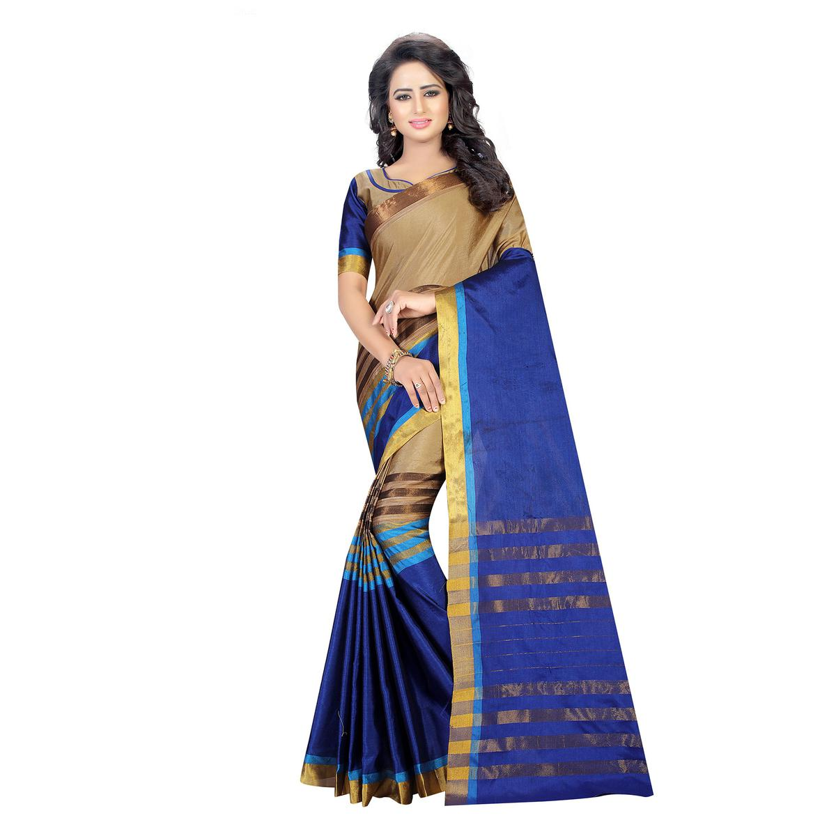 Beige - Blue Casual Wear Cotton Saree