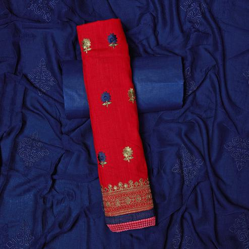 Excellent Red Colored Partywear Embroidered Cotton Dress Material