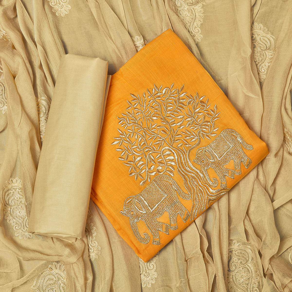 Alluring Yellow Colored Partywear Embroidered Cotton Dress Material