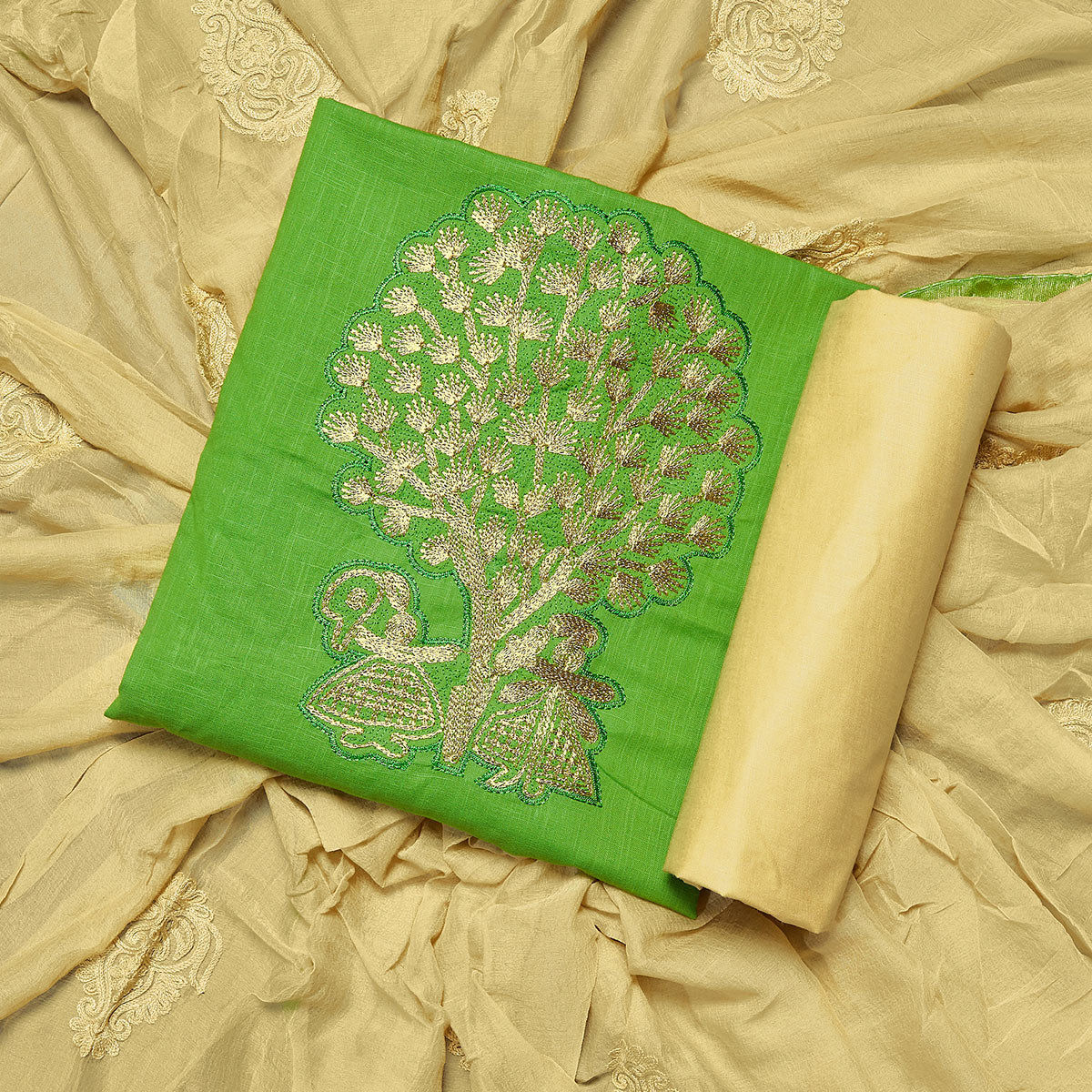 Stunning Green Colored Partywear Embroidered Cotton Dress Material