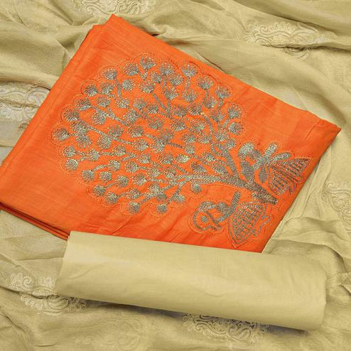 Flirty Orange Colored Partywear Embroidered Cotton Dress Material