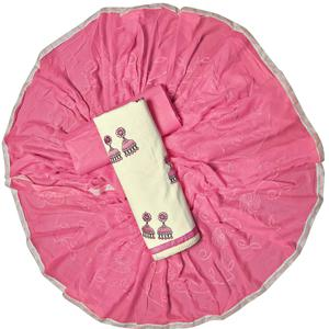 Sensational White-Pink Colored Partywear Embroidered Cotton Dress Material