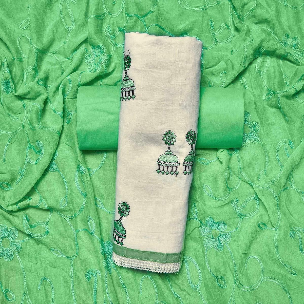 Classy White-Green Colored Partywear Embroidered Cotton Dress Material