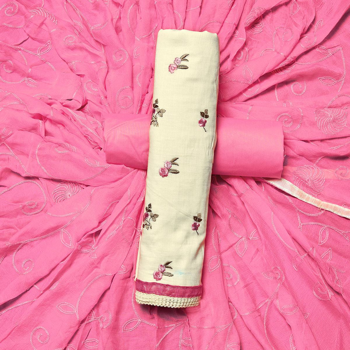 Groovy White-Pink Colored Partywear Embroidered Cotton Dress Material