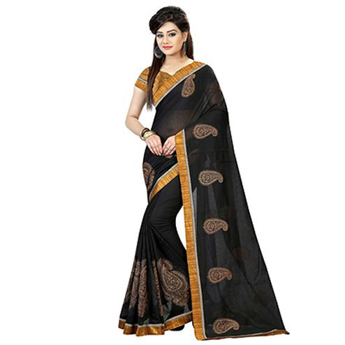 Black Paisley Design Chanderi Saree
