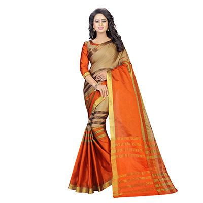 Beige - Orange Casual Wear Cotton Saree