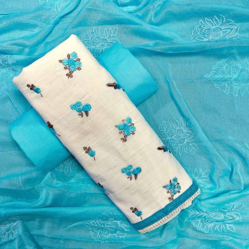 Prominent White-Sky Blue Colored Partywear Embroidered Cotton Dress Material