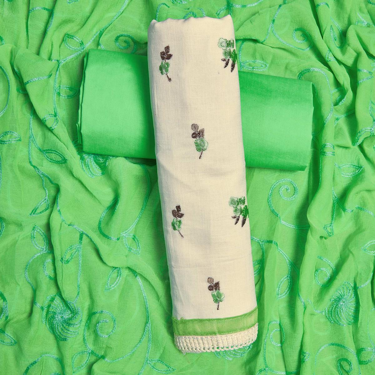 Capricious White-Green Colored Partywear Embroidered Cotton Dress Material