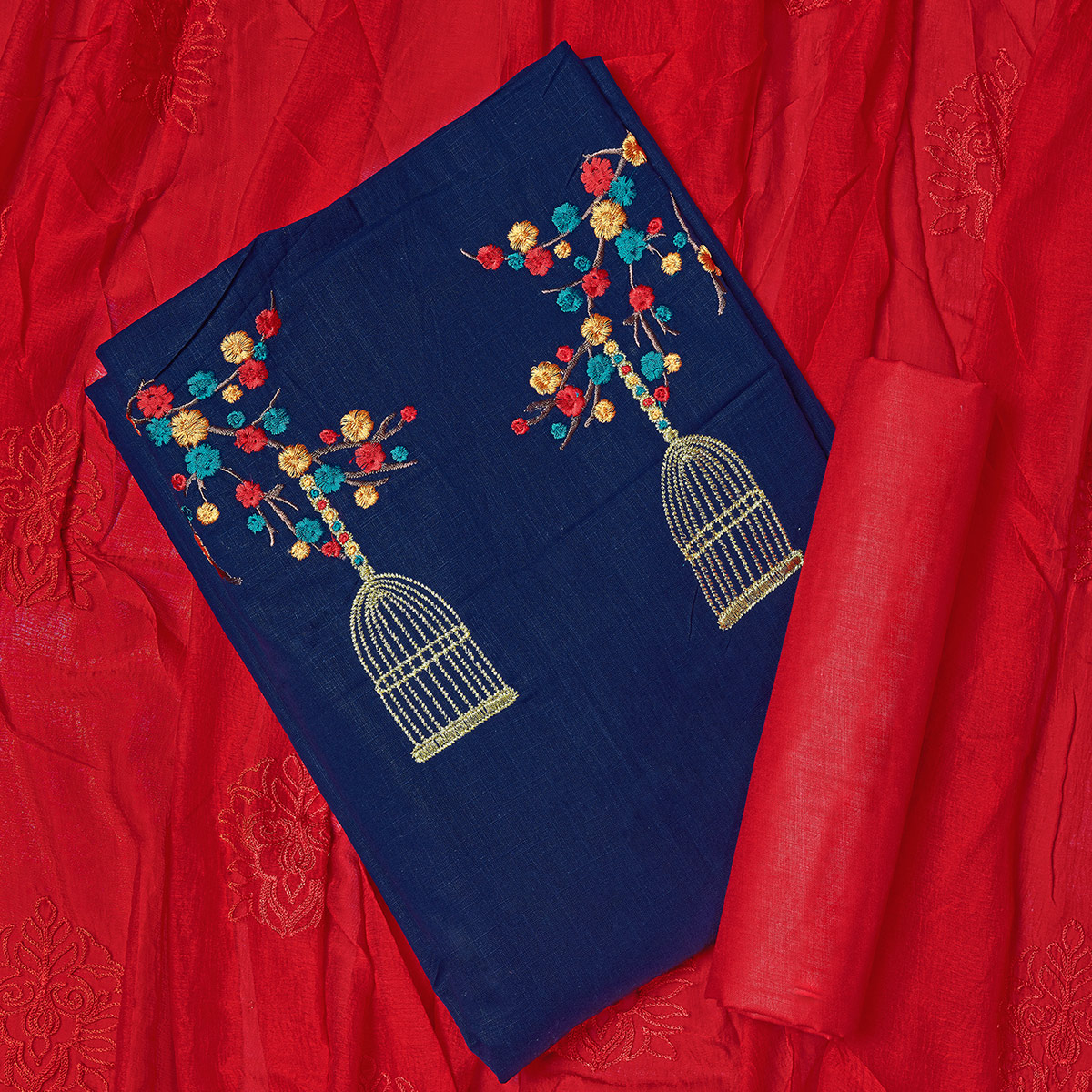 Pleasant Navy Blue Colored Partywear Embroidered Cotton Dress Material