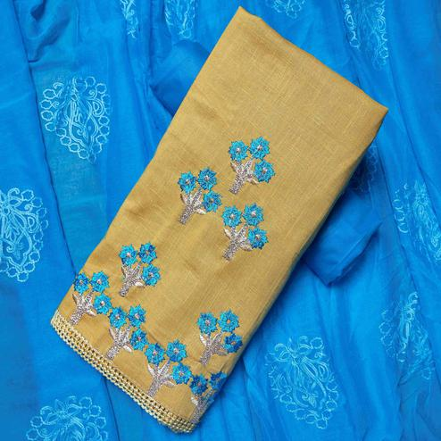 Radiant Beige-Sky Blue Colored Partywear Embroidered Cotton Dress Material