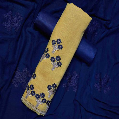 Refreshing Beige-Navy Blue Colored Partywear Embroidered Cotton Dress Material