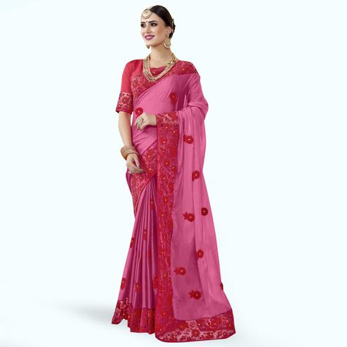 Graceful Pink Colored Partywewar Embroidered Georgette Saree