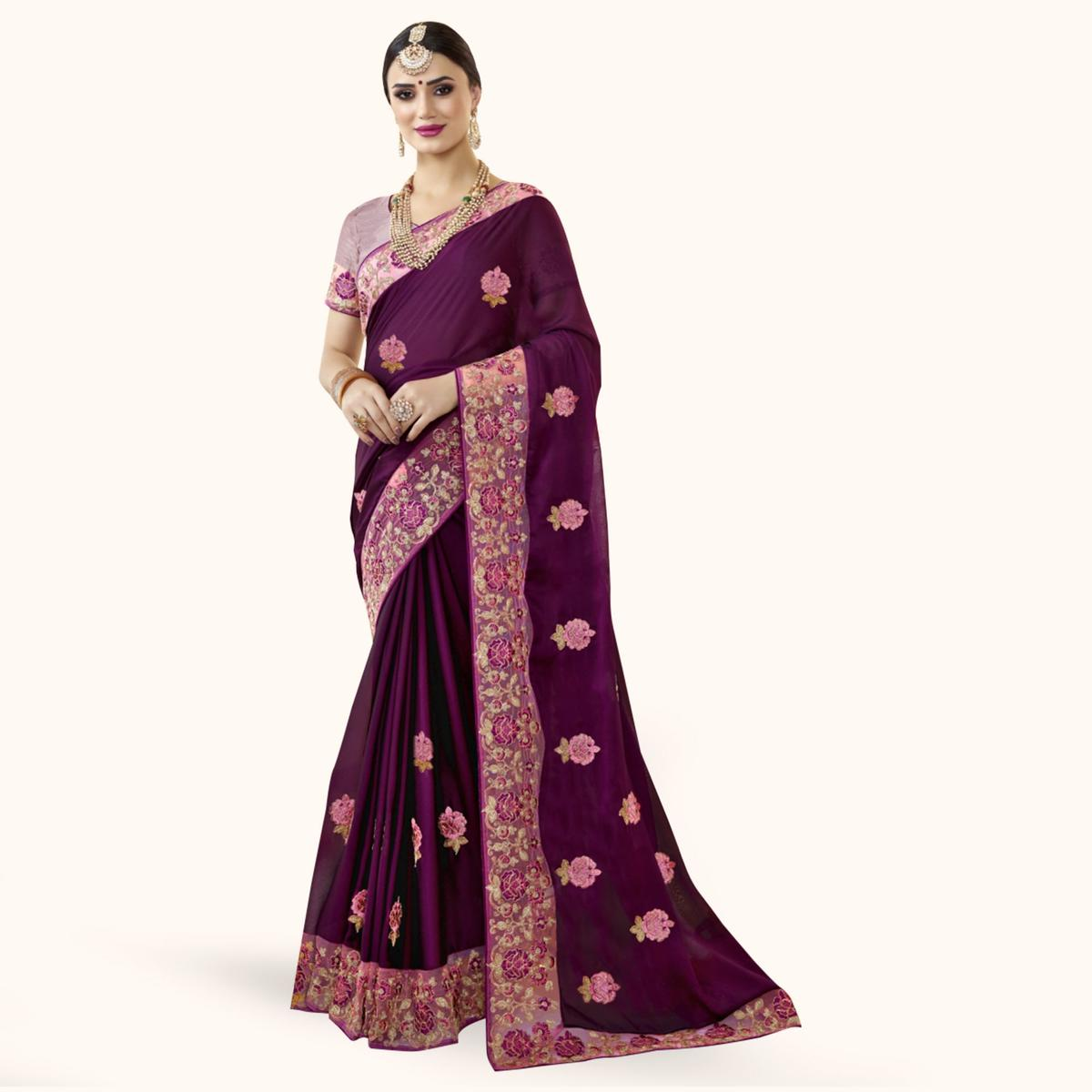 Blooming Purple Colored Partywewar Embroidered Georgette Saree
