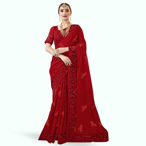 Charming Maroon Colored Partywewar Embroidered Georgette Saree