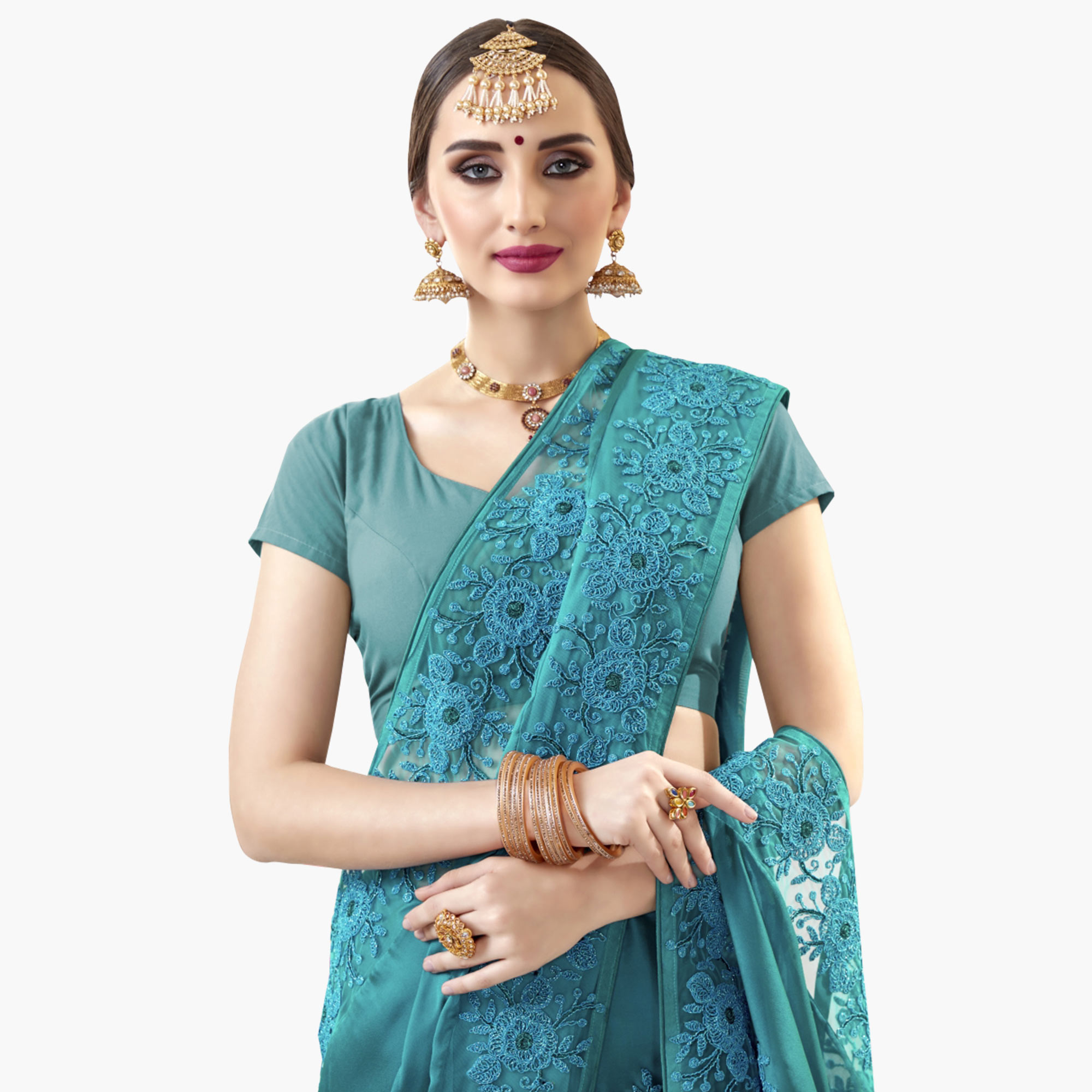 Delightful Blue Colored Partywewar Embroidered Georgette Saree